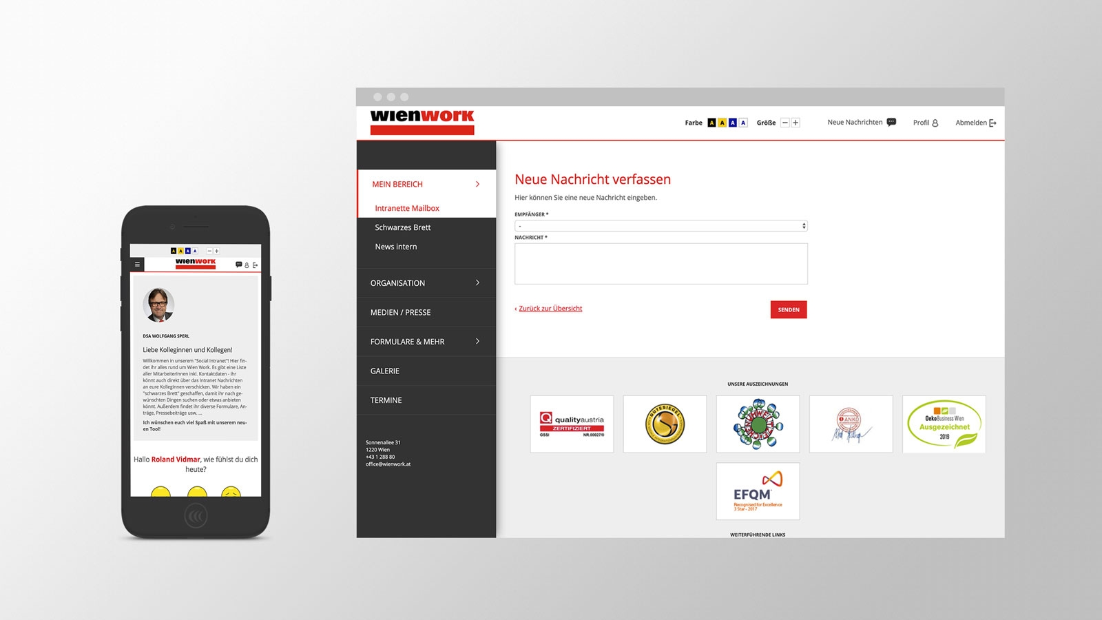 Wien Work Intranet | intranet.wienwork.at | 2018 (Responsive Phone Desktop) © echonet communication