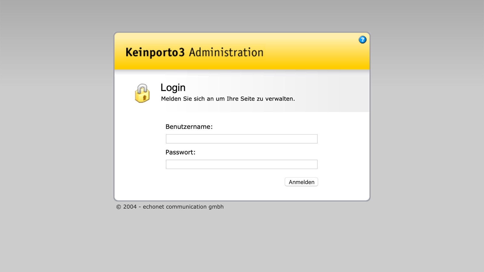 keinporto.com V3 (CMS Screen 01 / Login) © echonet communication