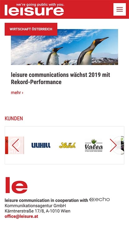 Leisure Communication | leisure.at | 2018 (Phone Screen Only 01) © echonet communication